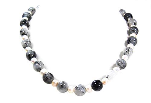 Sunglory - Collana in quarzo tormalinato e perle di fiume