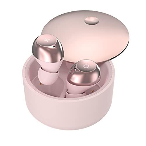 Auriculares inalámbricos, In-Ear Auriculares Bluetooth 5.1, Calidad de Sonido sin Pérdidas, 50 Horas Tiempo de Reprodución, Reducción de Ruido de Llamada, IPX7 Impermeable,Deslizar Abierto(Ros