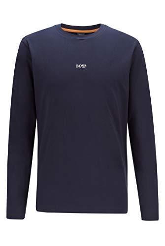 BOSS Herren TChark Longsleeve aus Stretch-Baumwolle mit fünflagigem Logo