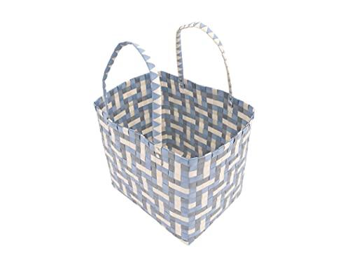 Einkaufskorb aus Kunststoff 31 x 24 x 27 cm Einkaufstasche Flechtkorb (Taupe-Blau)