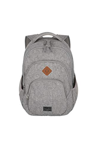 travelite Backpack Hand Luggage with Laptop Compartment 15.6 Inches Luggage Series Basics Daypack Melange: Fashionable Backpack in Melange Look, 096308-03, 45 cm, 22 Litres, Light Grey