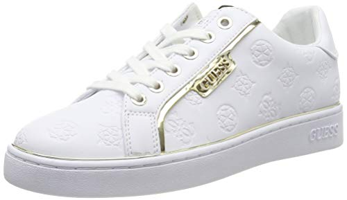 Guess Banq/Active Lady/Leather Like, Zapatillas de Gimnasia Mujer, Blanco (White White), 37 EU