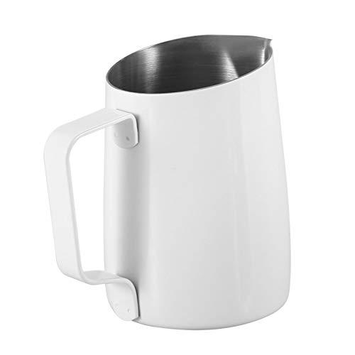 CUEA Taza, Cocina de Escritorio Reutilizable 420ML de la Taza de Leche del Acero Inoxidable Decorativa para la cafetería(White)