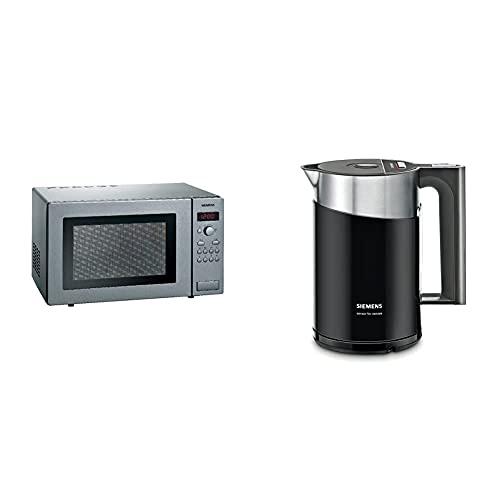 Siemens HF24M541 iQ300 Mikrowelle / 25 L / 900 W/Edelstahl / cookControl7 Automatikprogramme & TW86103P Wasserkocher, 2400 W Überhitzungsschutz, Fassungsvermögen 1,5 L, schwarz/anthrazit