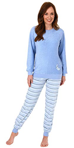 RELAX by Normann Damen Frottee Pyjama mit Bündchen - Hose gestreift, Top mit Mond und Stern Applikation, Farbe:hellblau, Größe2:44/46