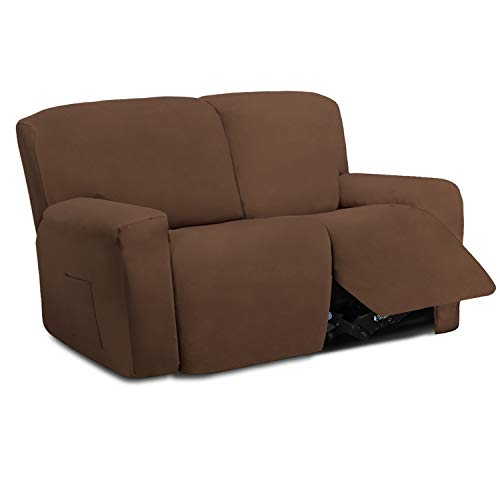 Easy-Going 6 Pieces Microfiber Stretch Sectional Recliner Sofa Slipcover Soft Fitted Fleece 2 Seats Couch Cover Washable Furniture Protector with Elasticity for Kids Pet(Recliner Loveseat, Brown)