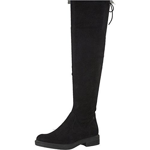 Tamaris Damen Overknee Stiefel 25506-21,Frauen Overknee-Boots,Lederstiefel,Flacher Absatz,Reißverschluss,Blockabsatz 3cm,Black,EU 39