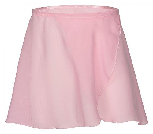 tanzmuster ® Wickelrock Mädchen Ballett - Emma - aus transparentem Chiffon - lockerluftiger Ballettrock zum Binden für Kinder in rosa, Größe:128/134