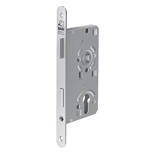 BASI® Zimmertür-Einsteckschloss DIN rechts | links ES 925 Nickel silber f. Profilzylinder mit Wechsel Tür-Schloss rund, DIN rechts