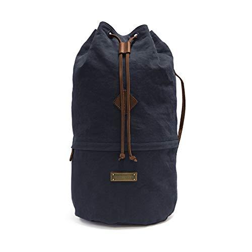 DRAKENSBERG Light Duffel Bag - Kleiner Leichter Seesack und Rucksack im Vintage-Marine-Design, handgemacht in Premium-Qualität, 40L, Canvas und Leder, Marineblau, DR00158