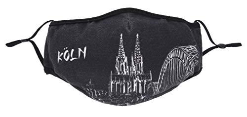 3forCologne Mund- und Nasenmasken waschbar Baumwolle 2 Stück, Stoff Mundmaske Nasenmaske Gesichtsmaske, Köln Schwarz