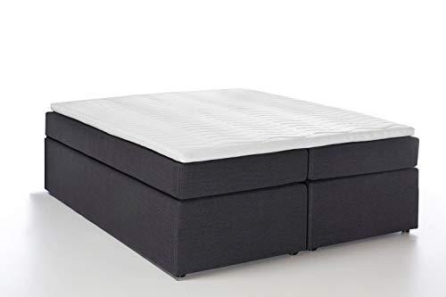 Furniture for Friends Möbelfreude® Boxspringbett Bella Anthrazit 140x200 cm H3, 7-Zonen Taschenfederkern-Matratze inkl. Visco-Topper, ohne Kopfteil