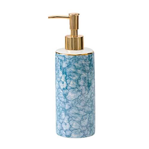 Dispensador de jabón Dispensador de jabón de cerámica de la textura de mármol hermosa para la cocina del baño de la cocina botella líquida duradera con bomba de oro mate Dispensador de la bomba de jab