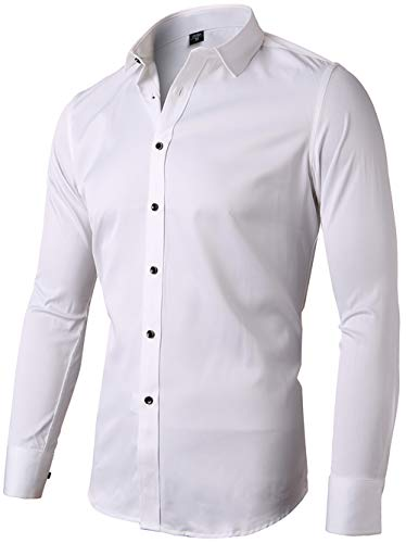 INFlATION Herren Hemd aus Bambusfaser umweltfreudlich Elastisch Slim Fit für Freizeit Business Hochzeit Reine Farbe Hemd Langarm,DE L (Etikette 42),Weiß