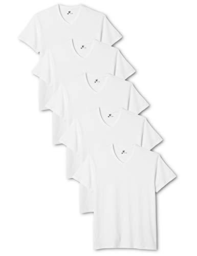 Lower East Herren T- Shirt mit V-Ausschnitt aus 100 % Baumwolle, 5er Pack, Weiß, L