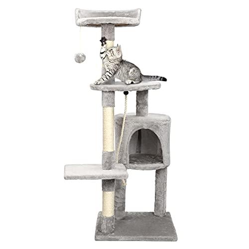 Arbre à Chat arbre à grimper griffoir pour chat,Très Solide et Stable, 112cm de Hauteur,Gris