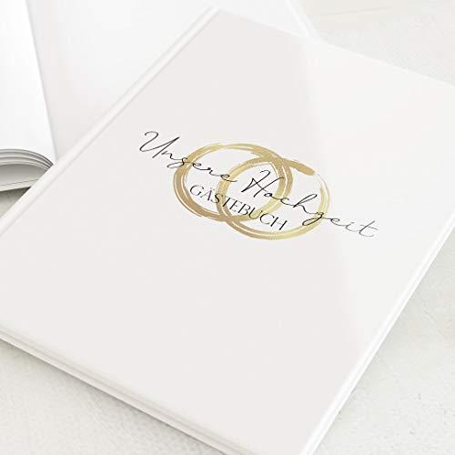 sendmoments Gästebücher Hochzeit, Noblesse, hochwertige Blanko-Innenseiten, 32 Seiten oder mehr, Hardcover-Buch, Hochformat, personalisierbar - Symbole Ringe