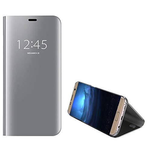 Anfire-ES Funda para Samsung Galaxy S7 Edge, Inteligente Case para Samsung S7 Edge, Flip Piel Carcasa de Espejo, Transparente Tapa Auto Sueño/Estela 360 Protección Lujoso Cover Smart Case - Plata