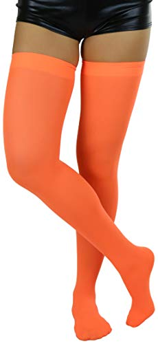 ToBeInStyle Women's Nylon Thigh High Schoolgirl Opaque Stockings, Neon Orange, (One Size Fits Most)