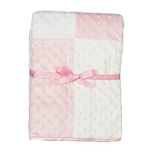 Spasilk Girls' Minky Raised Dot Baby Blanket with Satin Trim, Pink, 30' x 40'