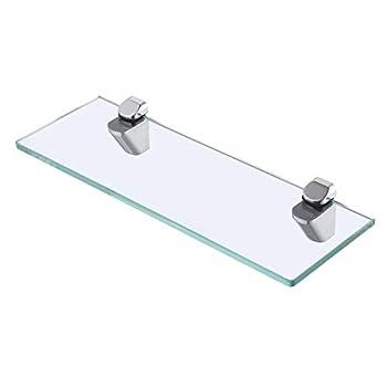 KES 14-Inch Bathroom Tempered Glass Shelf 8MM-Thick Wall Mount Rectangular Polished Chrome Bracket BGS3202S35