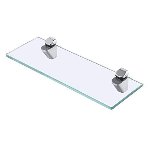 KES Duschablage Glasregal Duschregal Glas Ablage Dusche 8mm Glasablage für Badezimmer Wandregal Bad mit Regalträger Wandmontage 35cm Poliert Chrom, BGS3202S35