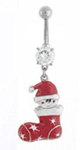 Body Accentz Belly Button Ring 316L Surgical Steel Christmas Santa in Stocking Holiday Navel Ring
