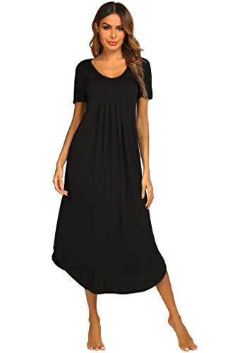 Ekouaer Womens Soft Modal Nightgown Long Short Sleeve Sleep Dress Summer Nightgown (Black L)