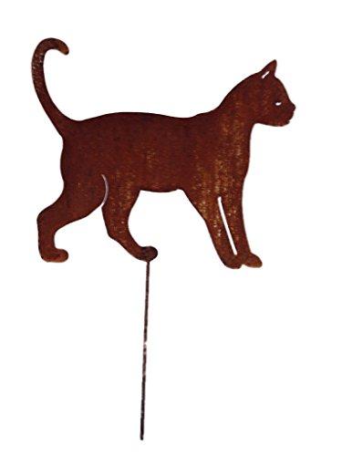 Crispe home & garden Gartenstecker Edelrost - laufende Katze groß - Höhe 29 cm