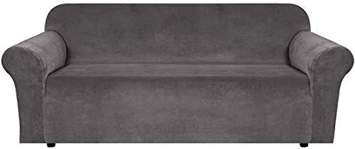WLVG Funda de sofá elástica de Terciopelo, 1 cojín, Fundas de sofá, Fundas de sillón para Sala de Estar, Fundas de sillón para sillas, artículos de Espuma Suave, Gruesa y Antideslizante (Gris, 4