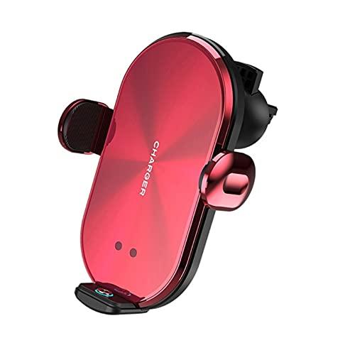 Qinndhto Auto sujeción 10W Cargador inalámbrico de automóvil Montaje de ventilación de Aire Herón con 3pcs Enchufe magnético Ajuste para teléfonos móviles i-teléfono móvil (Color : Rood)