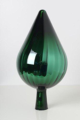 Rosenkugel aus Glas für den Garten – perfekte handgemachte Garten-Dekoration für Ihr Blumenbeetin vielen Farben, Formen und Größen, Hoche 33cm und Durchschnittlich 17cm, Grün Spitze