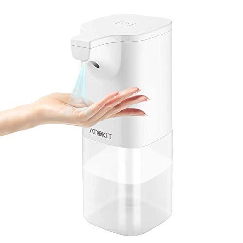 ATOKIT Dispensador de Desinfectante Manos, Automático Dispensador Jabon Sensor Infrarojo Spray Hidroalcoholico Desinfectante 350ml Dosificador para Cocina y Baño