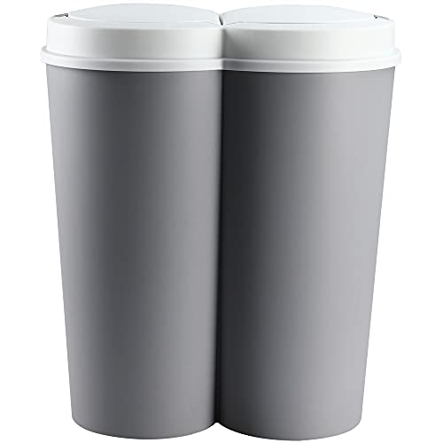 Deuba Mülleimer 50 L Duo 2fach Trennsystem 2x25 L Druckknopf-Automatik Küche Abfalleimer Müllbehälter Mülltrennung Grau
