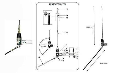 SIRIO BOOMERANG27-W Antena de fibra CB 27 Mhz Balconera 1/4 Onda. Longitud Radiante 1,33 metros