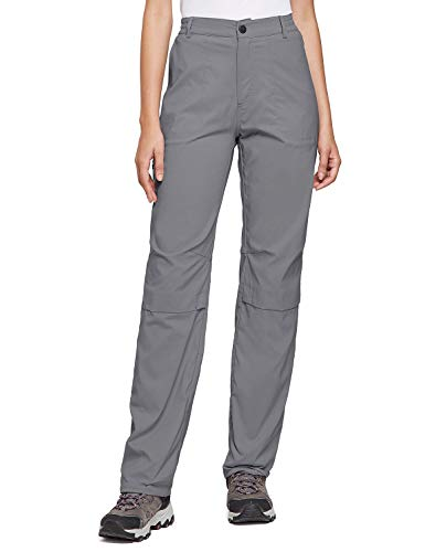 BALEAF Women's Lightweight Hiking Pants Convertible Roll Up UPF 50 Stretch Outdoor Capri Pants Water Resistant Gray L