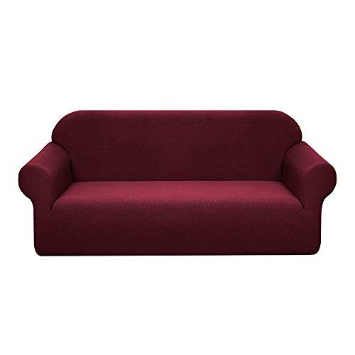 Granbest - Funda de sofá elástica resistente al agua, 1 unidad, Spandex Jacquard funda de sofá elástica con espuma antideslizante (4 plazas, color rojo vino)