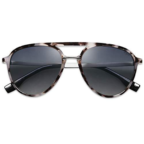 SOJOS Sonnenbrille Polarisierte Pilotenbrille Herrren Damen Übergroß Fliegerbrille SJ2078 mit Grauer Schildkrötenrahmen/Klar Blaue Verlaufslinsen