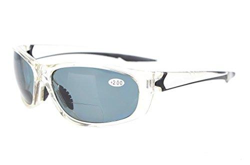 Eyekepper Polycarbonat Polarisierte Bifocal Sport Sonnenbrille Für Männer Frauen Baseball Laufen Angeln Fahren Golf Softball Wandern TR90 Unzerbrechlich Transparent Rahmen Grau Objektiv +3.0