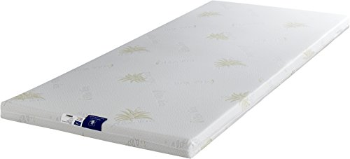 King of Dreams 2x Massage Functions 55kg/m3Memory Foam Mattress Topper with Removable Cover Aloe Vera Cover Can Be Washed at 30°C, Fabric, 140x190