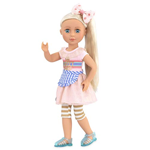 Glitter Girls Dolls by Battat – 14-inch Posable Doll Chrissy with Outfit – Pink Dress and Hair Bow – Toys, Clothes, and Accessories for Kids Ages 3 and Up