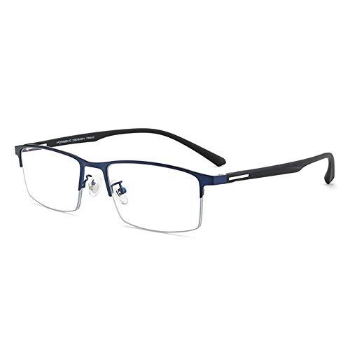 CAOXN Gafas De Lectura con Montura De Aleación Ultraligera para Hombre, Anti-Luz Azul Y Fatiga Lentes De Resina HD Gafas Ópticas Dioptrías De +1.0 A +3.0,Azul,+3.00