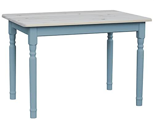 Tavolo da pranzo in legno di pino massiccio, colore blu, 70 x 110 cm