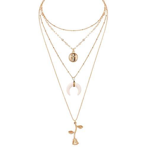 guodong Gold Color Cross Rose Pendants Neckalces for Women Girls Multi Layer Flower Choker Necklace Long Beaded Chain Moon Chokers