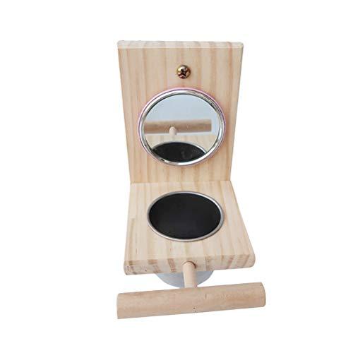 TEHAUX Parrot Toys- Parrot Mirror Cup Toy Bird Toys Cup Mirror Parrot Barra de pie de acero inoxidable Cuenco de comida para pájaros Accesorios