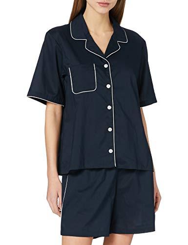 Seidensticker Damen Woven kurz Pyjamaset, Nachtblau, 46