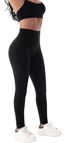 Beelu Damen Seamless Leggings Blickdicht Frauen Hohe Taille Slim Nahtlose Fit Fitnesshose für Workout Gymnastik Yoga Stretchhose (Schwarz XL)