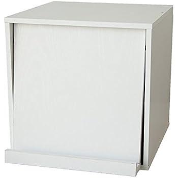 SM-MC キューブボックス360 フラップ扉タイプ 棚付き ホワイト スタッキングボックス ディスプレイラック 木製 カラーボックス MC-WFC-002