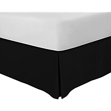 Utopia Bedding Bed Skirt Hotel Quality (15 Inch Fall), Iron Easy, Quadruple Pleated, Wrinkle and Fade Resistant - (Queen, Black)