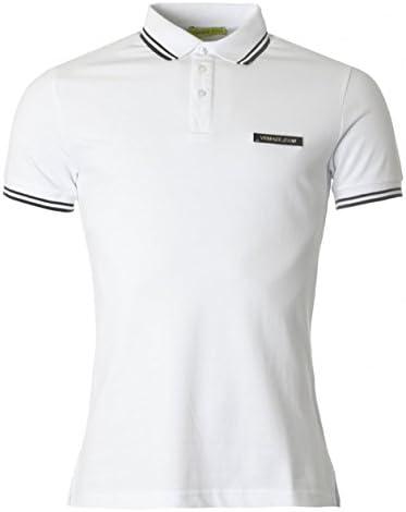 Versace Jeans Men s White Pique Cotton Logo Polo T Shirt M product image